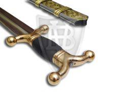 Extravagantes keltisches Schwert mit Griffteile aus Messing, mit der Scheide zusammen geliefert